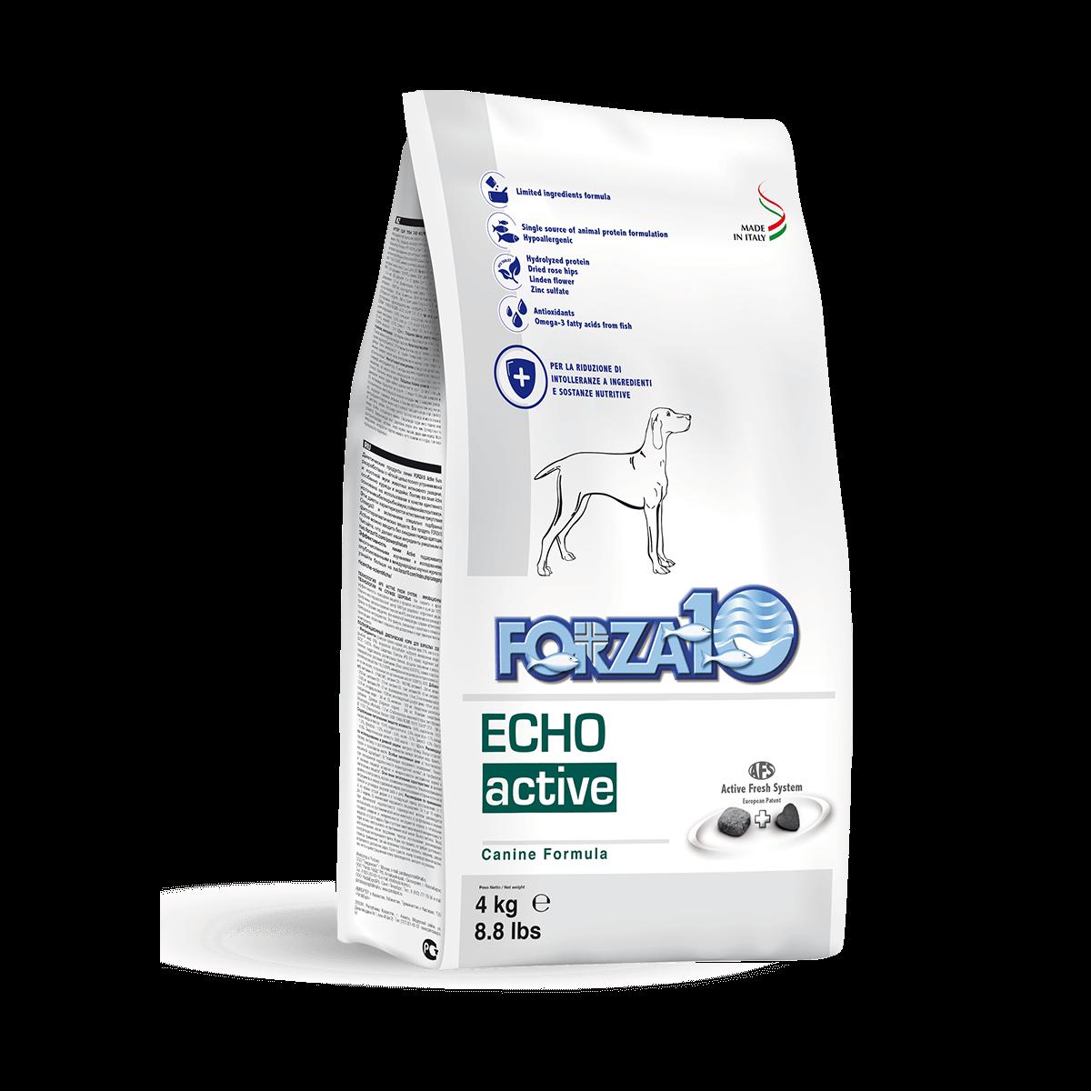 Итальянский ветеринарный корм Forza10 ECHO Active для собак с проблемами уха и слухового аппарата