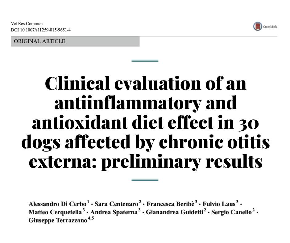 Клиническая оценка противовоспалительного и антиоксидантного диетического эффекта у собак страдающих хроническим отитом