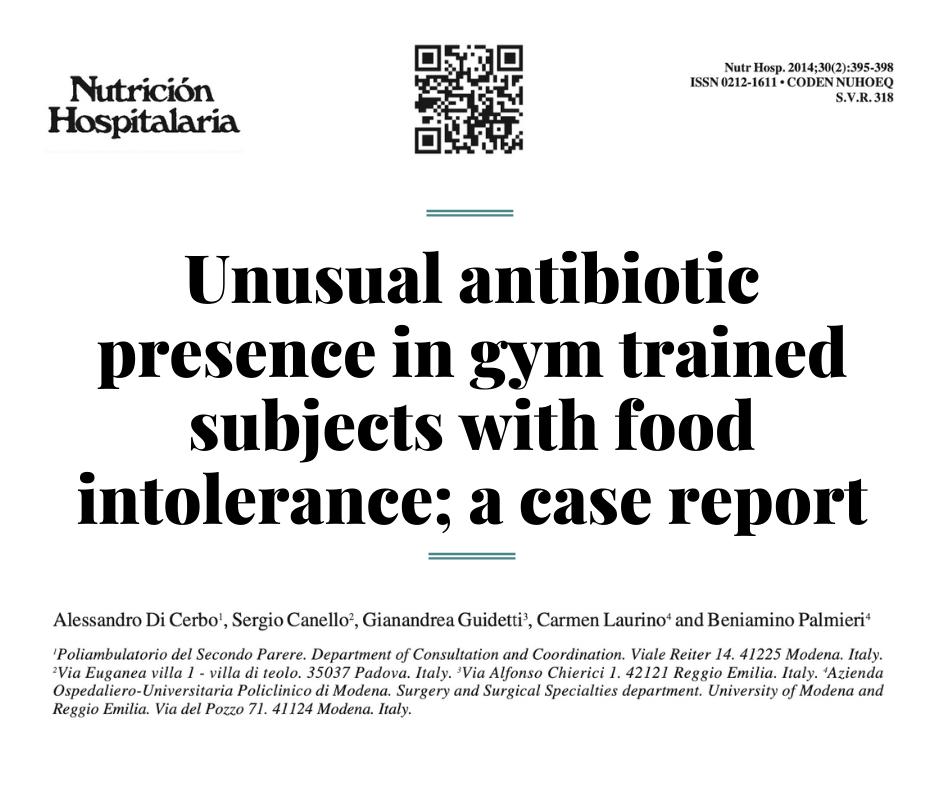 Необычное наличие антибиотика у тренированных  пациентов с пищевой непереносимостью