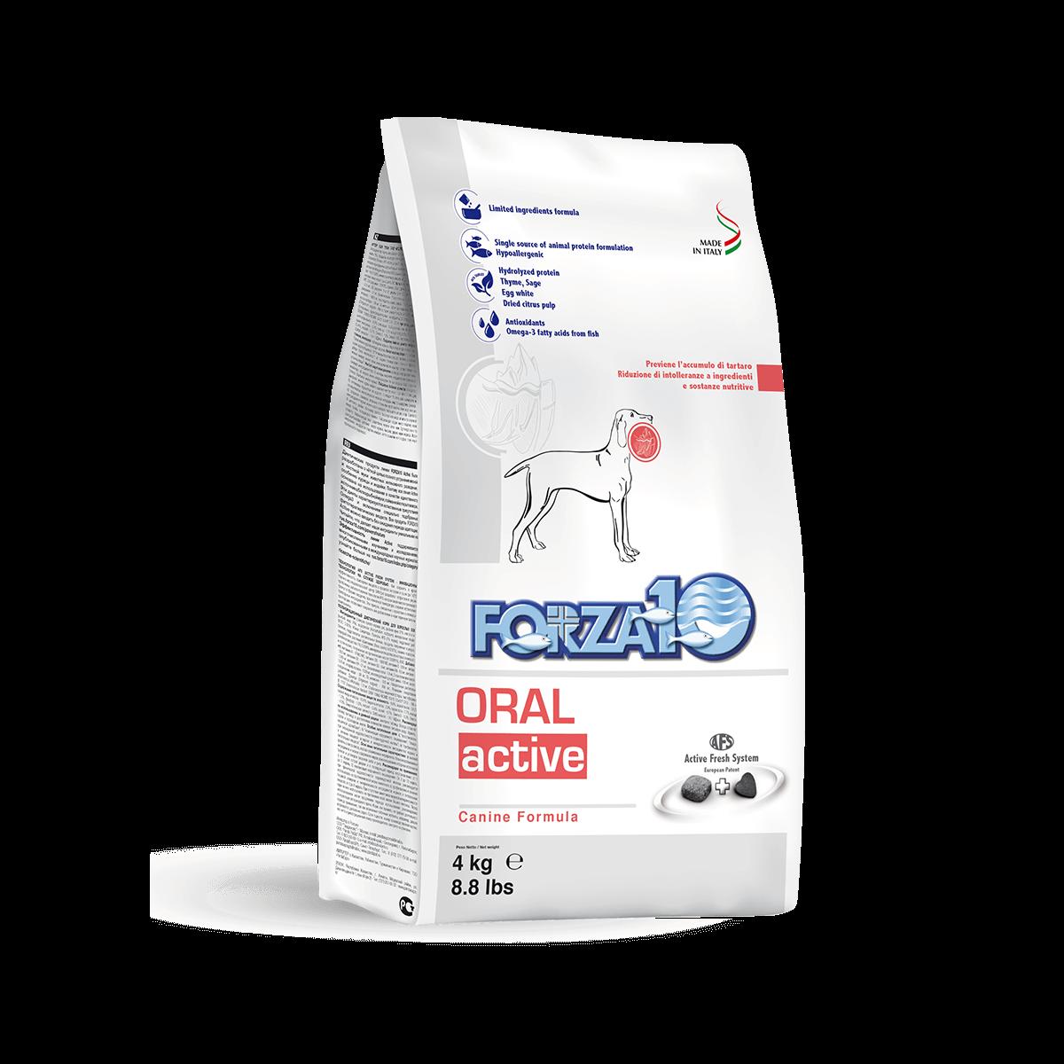 Итальянский ветеринарный корм Forza 10 ORAL ACTIVE корм для собак с проблемами ротовой полости, плохой запах, зубной камень