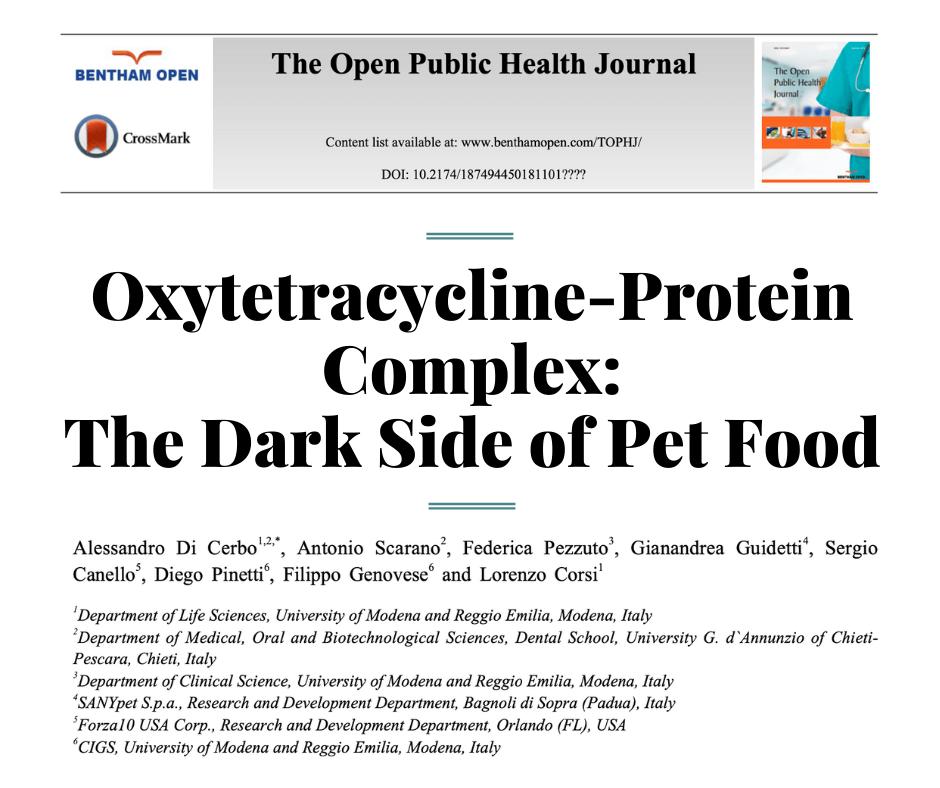 Окситетрациклин-протеиновый комплекс: темная сторона кормов для домашних животных