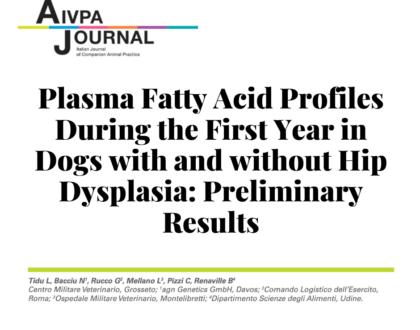 Профиль жирных кислот в плазме крови в течение первого года у собак с дислазией или без